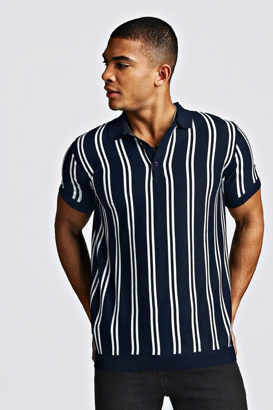 Navy Short Sleeve Stripe Knitted Polo