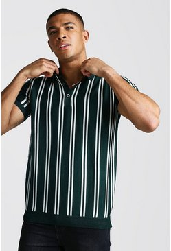 Green Short Sleeve Stripe Knitted Polo