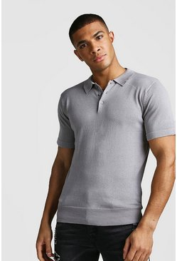 Mens Silver Short Sleeve Knitted Polo
