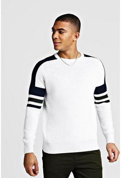 Mens White Ribbed Colour Block Knitted Jumper