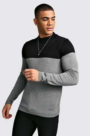 Black Colour Block High Neck Jumper