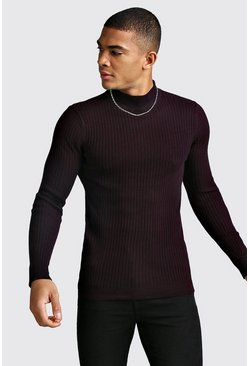 Oxblood Ribbed Muscle Fit High Neck Jumper