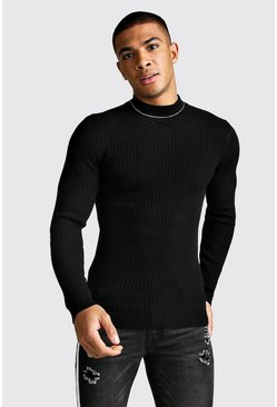 Mens Black Ribbed Muscle Fit High Neck Jumper