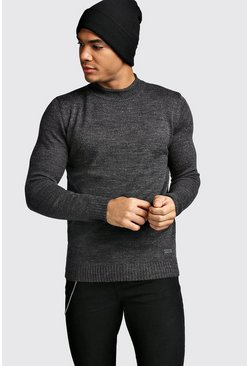 Mens Charcoal Hem Detail Turtle Neck Jumper