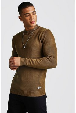 Mens Tobacco Hem Detail Turtle Neck Jumper