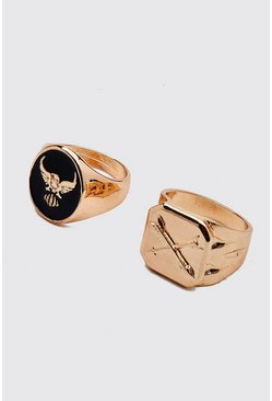Gold 2 Pack Chunky Emboss Ring