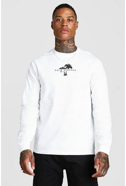 Mens White Long Sleeve Palm Springs Print T-Shirt