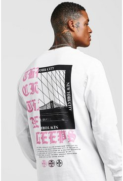 Mens White Long Sleeve New York City Back Print T-Shirt