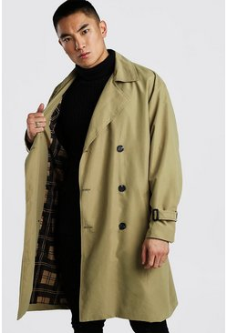 Khaki Oversized Lined Trench Coat