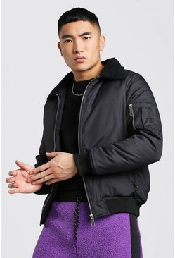 Black Borg Collar MA1 Bomber Jacket