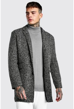 Charcoal Salt And Pepper Wool Check Overcoat
