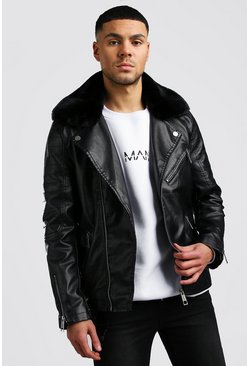 Black Leather Look Biker With Detachable Collar