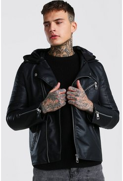 Black Leather Look Biker With Jersey Hood