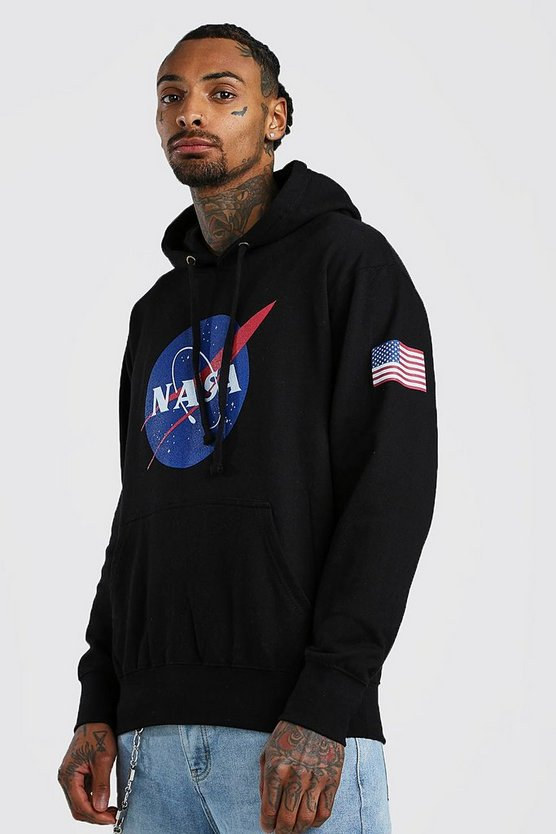 Black NASA License Chest & Sleeve Print Hoodie