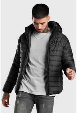 Black Quilted Zip Through Puffer Jacket