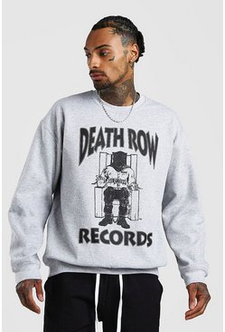 "Grey ""Death Row"" Sweatshirt med tryck"