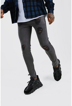 Super Skinny Jeans in starker Used-Optik, Anthrazit