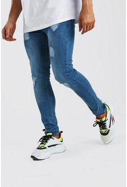 Light blue Super Skinny Jeans With Heavy Distressing