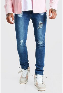 Super Skinny Jeans in starker Used-Optik, Mittelblau