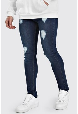 Super Skinny Jeans in starker Used-Optik, Indigoblau