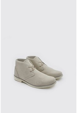 Stone Faux Suede Desert Boot