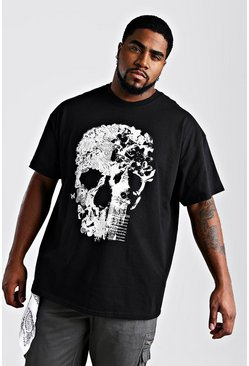 Herr Black Big And Tall Floral Skull Print T-Shirt