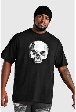Mens Black Big And Tall Painted Skull Print T-Shirt