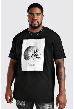 Black Big And Tall Skull Front Print T-Shirt