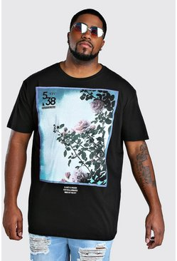 Black Big And Tall Flower Photograph T-Shirt