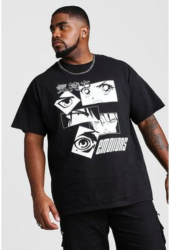 Mens Black Big And Tall Anime Eyes Print T-Shirt