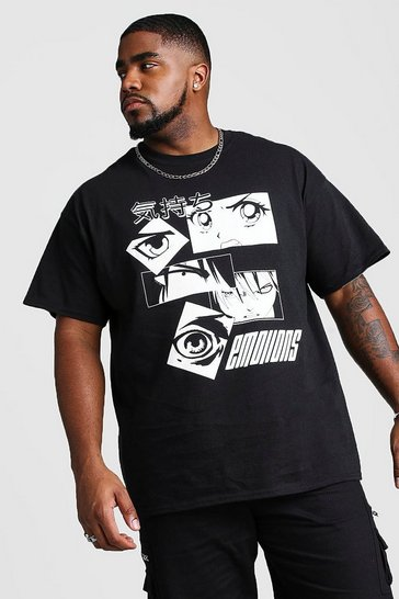 Black Big And Tall Anime Eyes Print T-Shirt