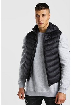 Mens Black Chevron Quilt Hooded Padded Gilet With Hood