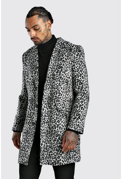 Mens Grey Animal Wool Overcoat