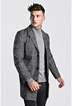 Mens Grey Check Wool Overcoat