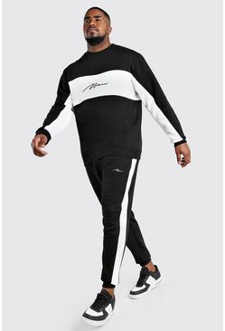Black Big And Tall MAN Script Colour Block Tracksuit
