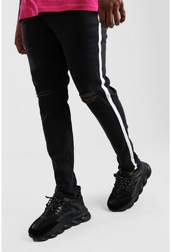Jeans skinny con cinta lateral Big And Tall, Negro desteñido