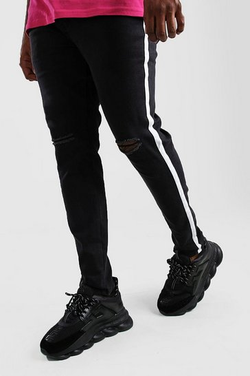 Washed black Big And Tall Side Tape Skinny Jean