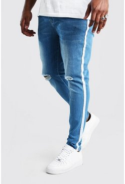 Pale blue Big And Tall Side Tape Skinny Jean