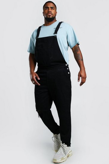 Black Big And Tall Dungaree With Busted Knee