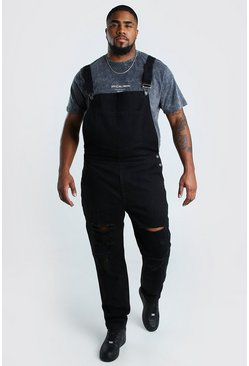 Black Big And Tall Dungaree With Distressing