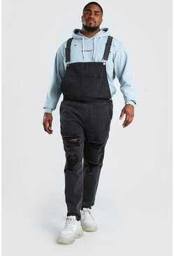 Charcoal Big And Tall Overall With Distressing