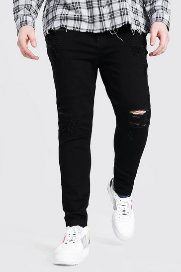 Black Big And Tall Raw Hem Skinny Jean