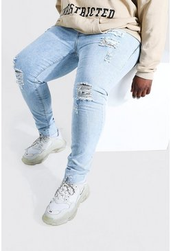 Pale blue Big And Tall Raw Hem Skinny Jean