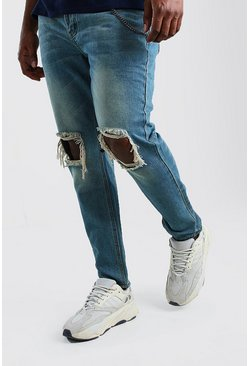 Jeans skinny Big And Tall rigidi con catenina, Blu medio