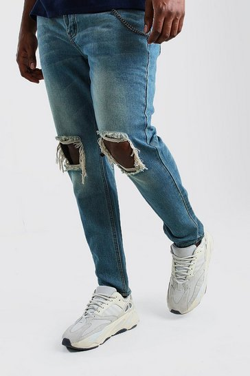 Mid blue Big And Tall Rigid Skinny Jean With Chain