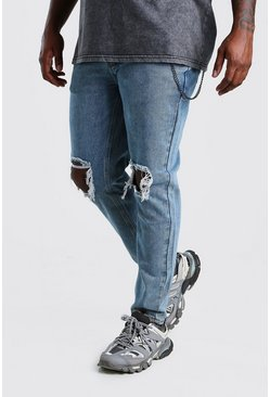 Jeans skinny Big And Tall rigidi con catenina, Azzurro chiaro