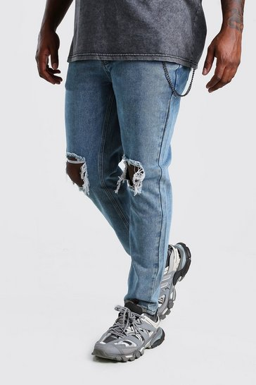 Pale blue Big And Tall Rigid Skinny Jean With Chain