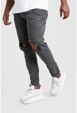 Jeans skinny rígidos con cadena Big And Tall, Gris marengo