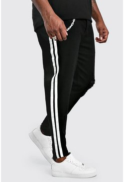 Black Big And Tall Paint Stripe Skinny Jean