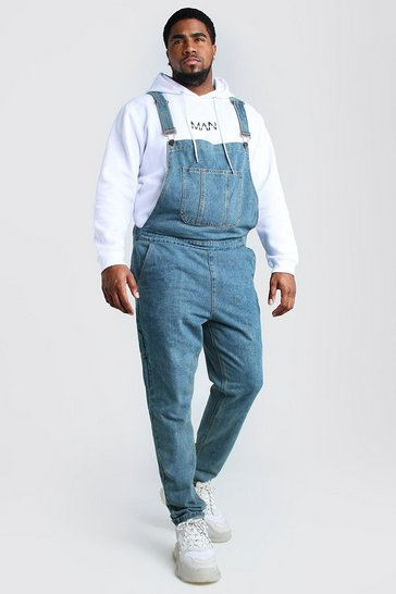 Mid wash Big And Tall Slim Denim Dungarees